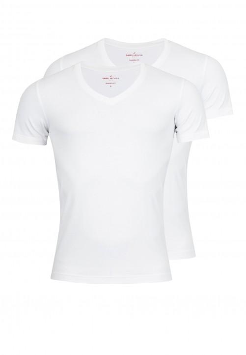 T-Shirt V-Ausschnitt Shape-fit, Weiß