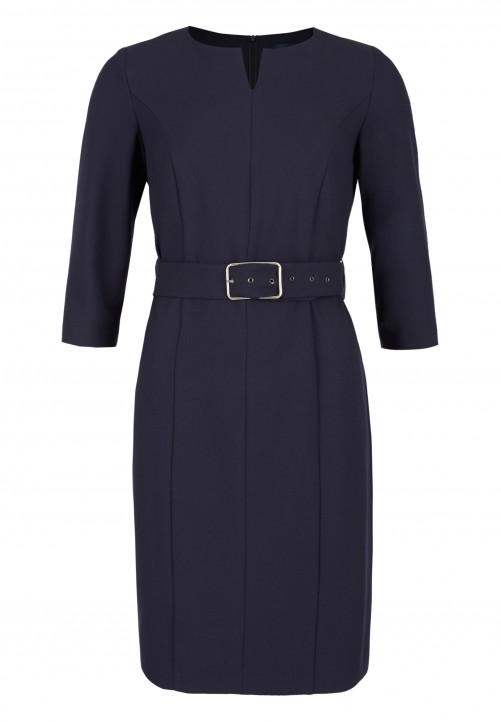 Elegantes Kleid mit Taillengürtel, nachtblau