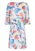 Robe mi-longue taille basse  manches 3/4  motif floral