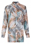 Trendige Longbluse mit All-over-Palmenprint