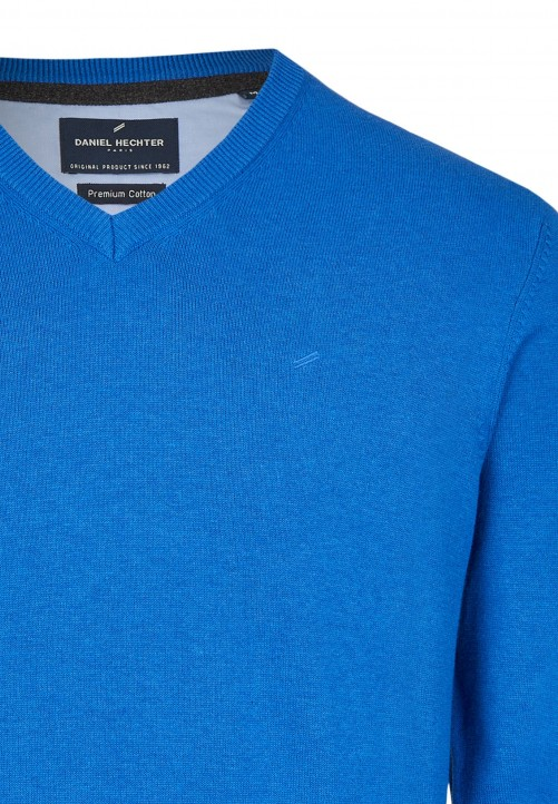 Essential-Pullover mit V-Ausschnitt, blue