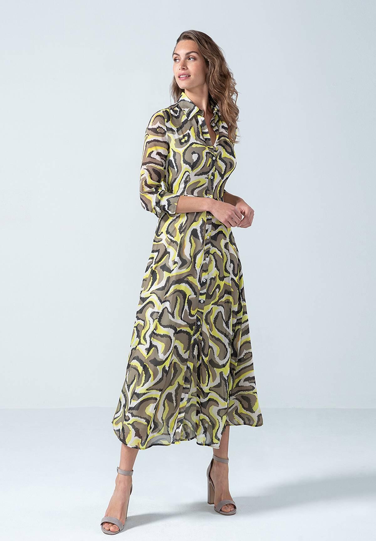 Robe chemise longue à motifs /