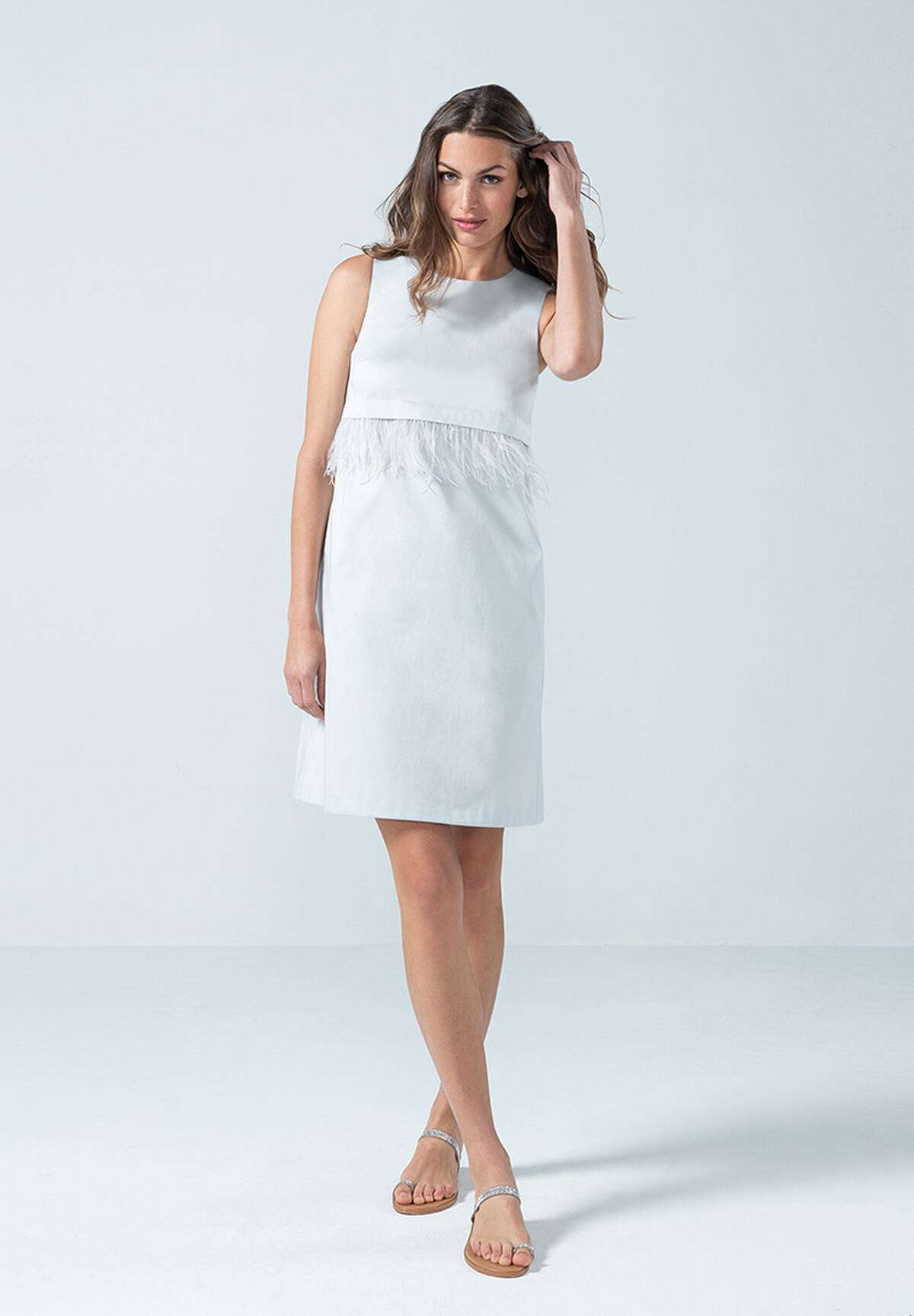 Elegantes Kleid mit Federn, Light Grey  Daniel Hechter Online Shop