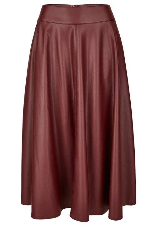 Fake Leather Skirt, beet red