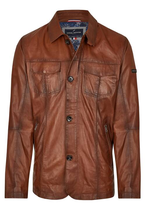LEATHER-FIELDJACKET, brown